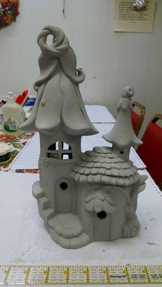 Elf or fairy house and home unpainted ceramic bisque ready How to make a fairy door out of clay