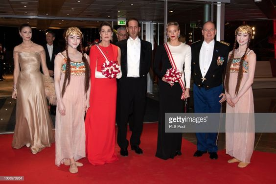 (L-R) Beatrice Casiraghi, a guest, Princess Caroline of Hanover, Andrea Casiraghi, Princess Charlene of Monaco and Prince Albert II of Monaco attend a Gala during Monaco National Day on November 19, 2018 in Monte-Carlo, Monaco.  (Photo by David Niviere/SIPA/PLS Pool/Getty Images)