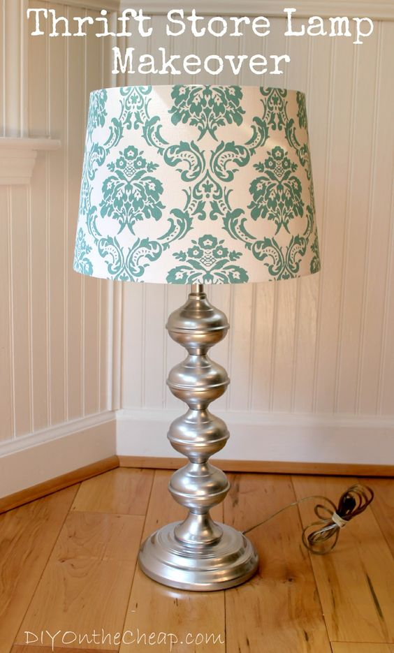 Diy On The Cheap Thrift Store Lamp Makeover Krylon Crome Paint Do Bathroom Light Fixture