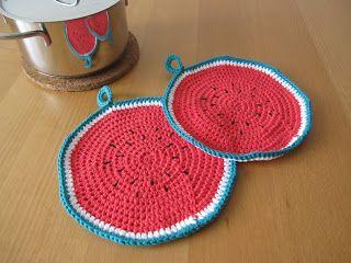 Melone Topflappen häkeln, crochet melon potholder #diy #crochet #häkeln