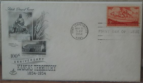 KANSAS TERRITORY 1954 100th Anniversary First Day Of Issue Cover 3 Cent Stamp