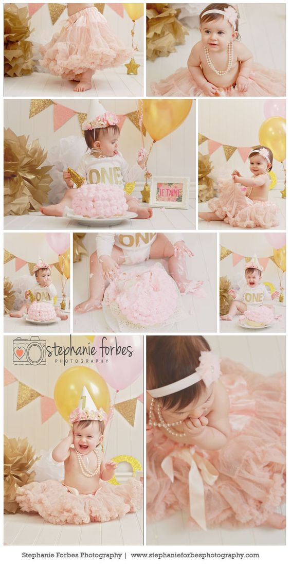 Pink and Gold first birthday cake smash!: