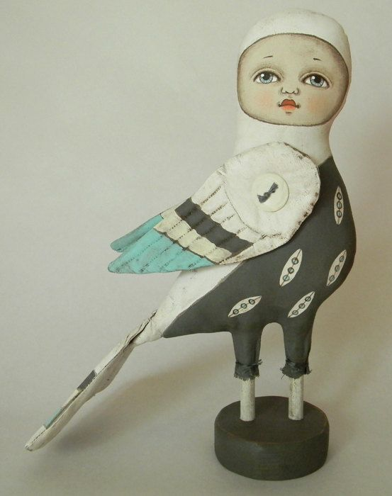 Cielo Bird-- Contemporary Folk Art Doll-- Made to order within a week. $140.00, via Etsy. 9 1/2 ""