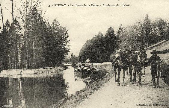 Stenay, Meuse - Les bords de la Meuse - Au-dessus de l'église - (attelage de chevaux tirant une péniche)