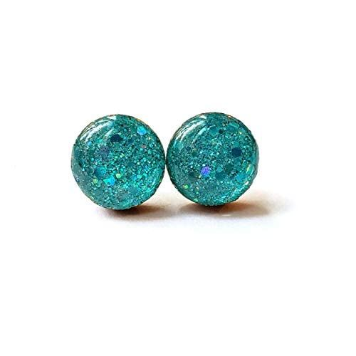 Black with holographic sparkles wood stud earrings 8mm