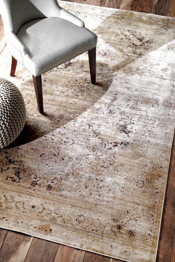 I LOVE this rug pattern! An updated traditional area rug with a worn vintage look in taupe and gray!