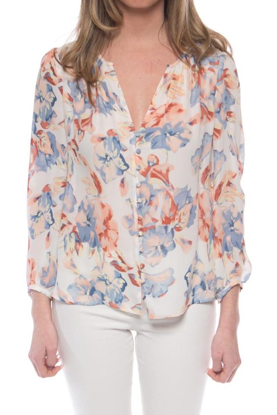 The Lennix blouse is a multi colored floral print top from Joie that comes to life with its watercolor inspired painterly inspiration. Long sleeved and 100% silk this top will become the talking piece of any conversation furthering the current trend of everything 70s inspired.  Lennix Blouse by Joie. Clothing - Tops - Blouses & Shirts Clothing - Tops - Long Sleeve New Jersey
