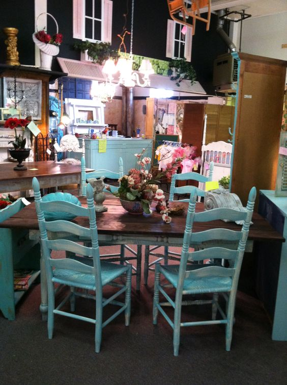 Turquoise Painted Farm Table Chairs See At Chic Or Shabby Gainesville Ga Chic Or Shabby
