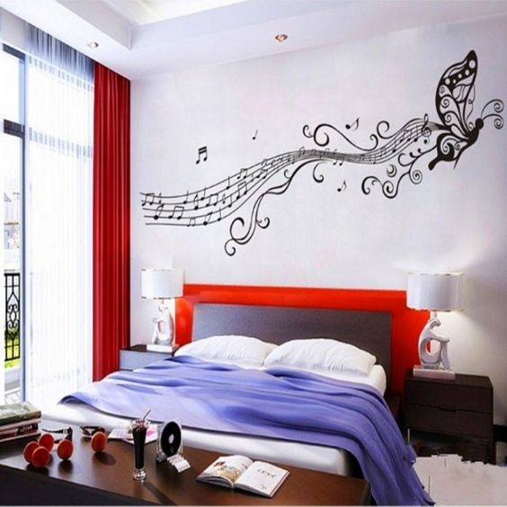 Music bedroom theme with musical patterns on the wall for Bedroom ideas music