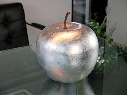 Apfel aus Keramik Dekoobst Keramikapfel Obst 24 cm hochglänzend silber