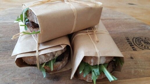 My tasty beef sandwiches: Rare roast beef,  rocket,  cream of horseradish and onion confit on homemade brown bread.