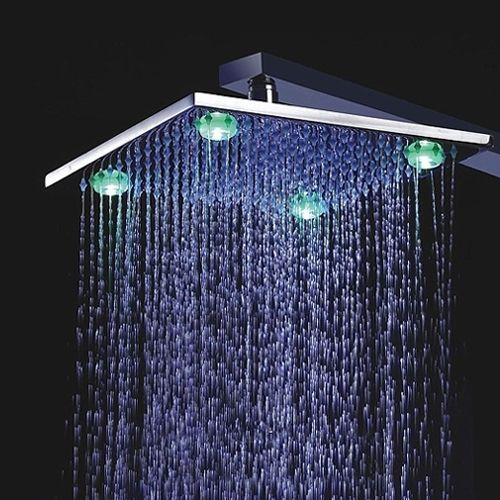 8 Inch Chrome Brass Shower Head With 4 Led Lights With Images
