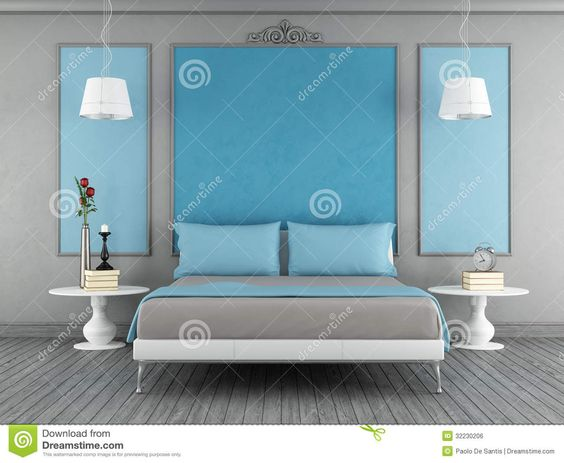 blue and grey bedroom | Blue and gray vintage bedroom with contemporary blue double bed ...