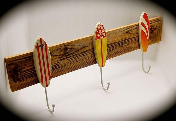 "Surfboard Hat Rack- Surfboard Coat Rack- Surfboard Key Rack- BeachDazzled Organizer Handmade with Reclaimed Cedar 2 Ft. Long 9"" high. by BeachDazzled on Etsy"