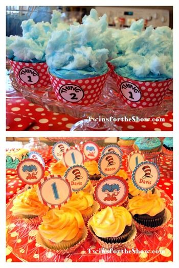 Cotton candy on top of cupcakes for thing 1 & thing 2 cupcakes-