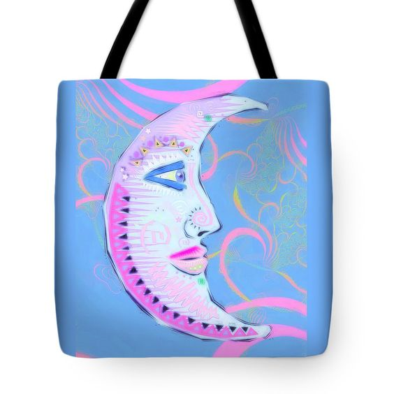 Moon Tote Bag featuring the digital art Pastello Luna by Sharon and Renee Lozen
