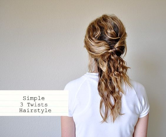 Step By Step Tutorial for a Simple 3 Twists Hair Style - Perfect fix for bed head