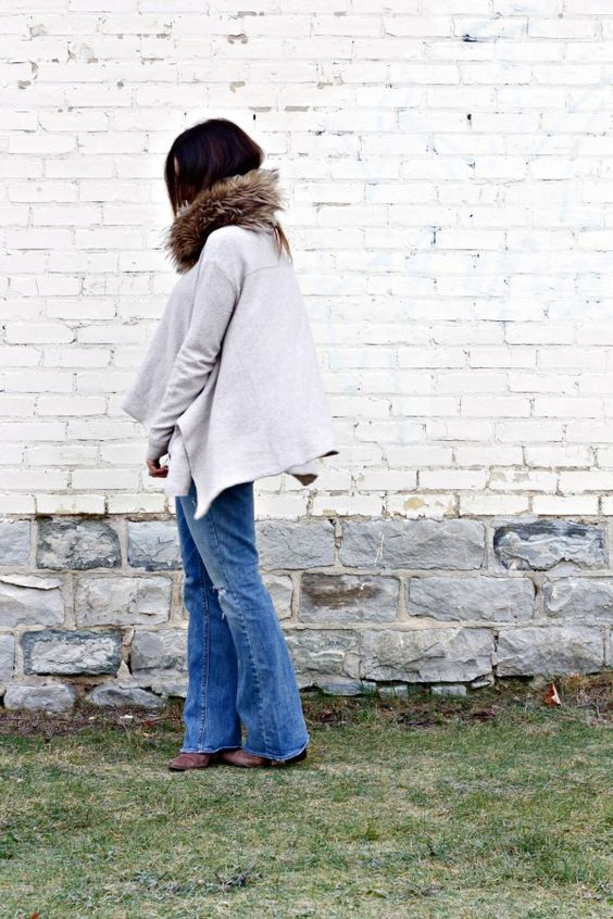 Free People draped sweater; American Eagle jeans; Target faux fur scarf.