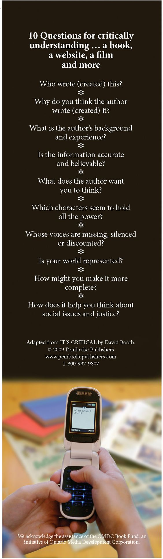 Teach kids about critical literacy with this bookmark! Permission to copy for classroom use.
