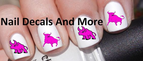 50 pc of  pink Bulls waterslide nail decals by NailDecalsAndMore, $4.00