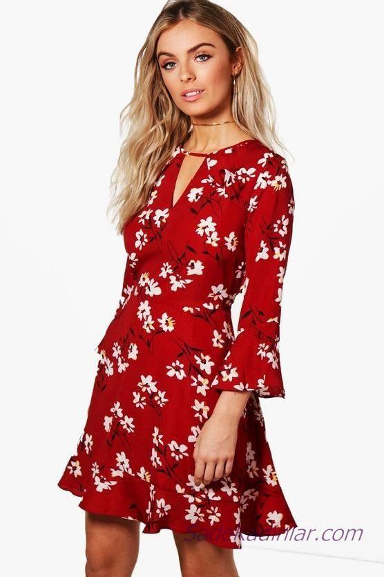 Klos Elbise Modelleri Kirmizi Kisa Uzun Kollu Cicek Desenli The Dress Elbise Modelleri Elbise
