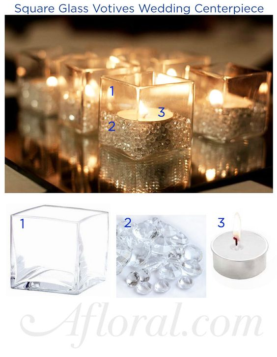 Glass votive wedding decorations and centerpieces