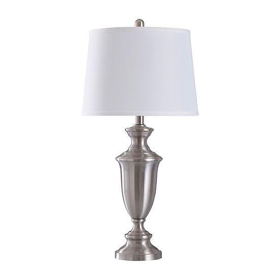 Stylecraft 14 W Brush Nickel Steel Table Lamp Jcpenney Steel Table Lamp Table Lamp Jcpenney living room table lamps