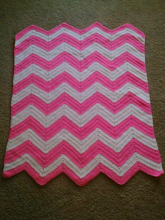 Crochet Chevron Crib Baby Toddler Blanket Pattern Yarn