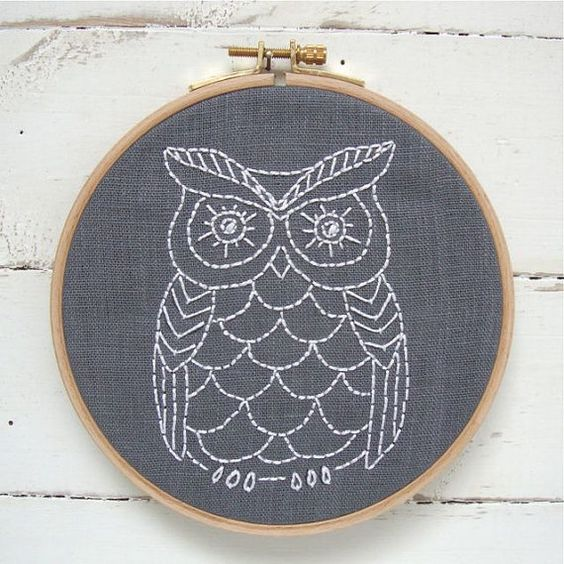 Owl embroidery kit pattern easy