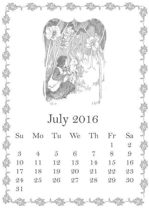 July, 2016, Calendar, Summer, Girl, Child, Rabbit:
