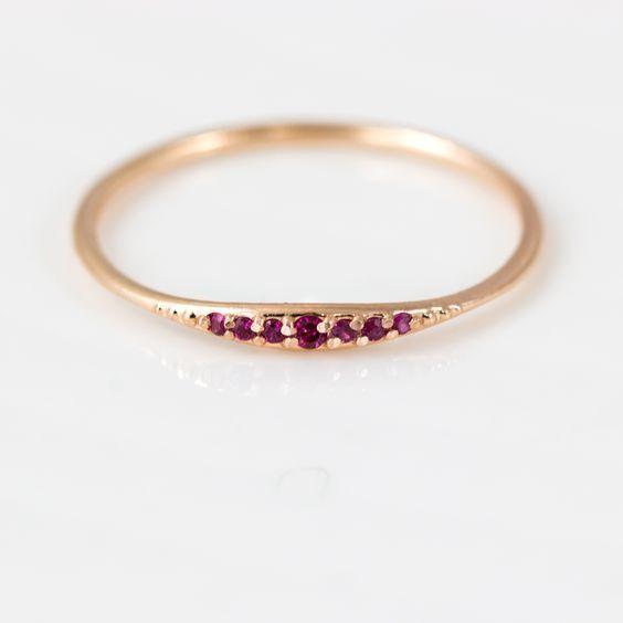 Bridesmaid Gift Brilliant Diamond Ring Ruby Stacking Ring Diamond band Ring Gold Ring Dainty Diamond Ring Delicate Ring 14k Gold Ring