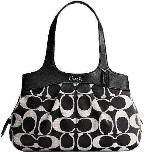 New Authentic COACH Signature Black & White Lexi Shoulder Bag 18828 w/COACH Receipt