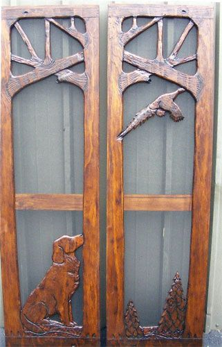 Carved Screen Door by Adriondack Rustic Interiors
