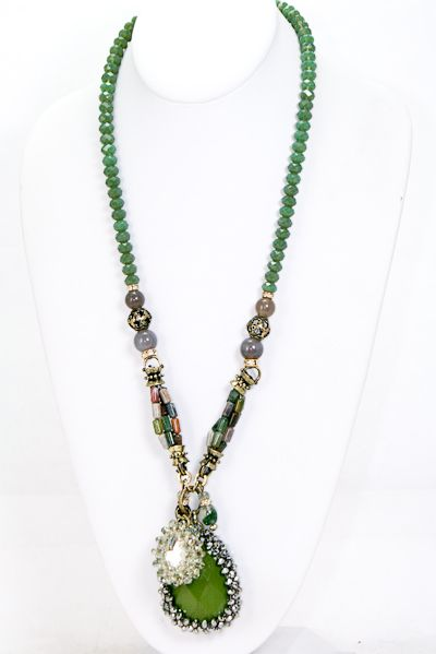Acrylic Stone w/Crystal Drop Turquoise Stone & Crystal Beads in Olive-BESSIE'S PICK!