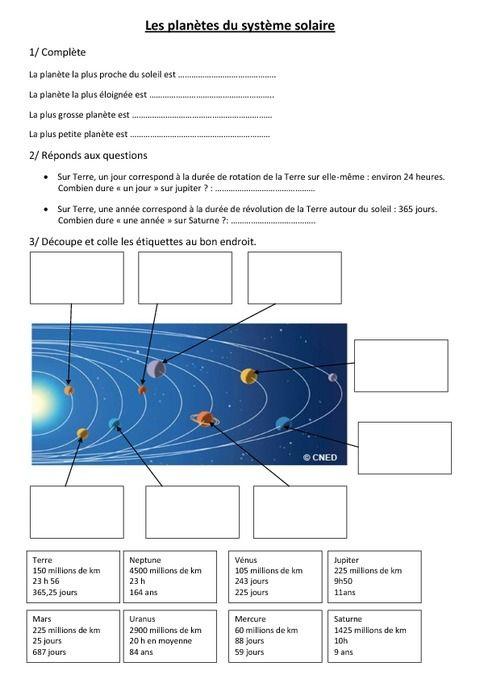 Le syst me solaire et les plan tes cm1 pass education for 6eme planete