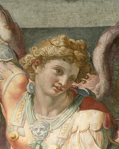 Detail of Figure from a Fresco Painting Depicting the Archangel Michael by School of Raphael : Custom Wall Decals, Wall Decal Art, and Wall Decal Murals   WallMonkeys.com