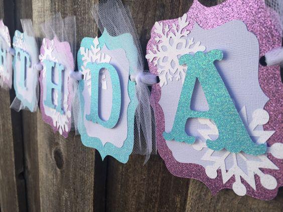 Frozen birthday banner party decorations by CelebrationBanner