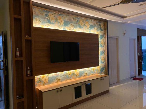 We installed Wallpaper at TV Unit