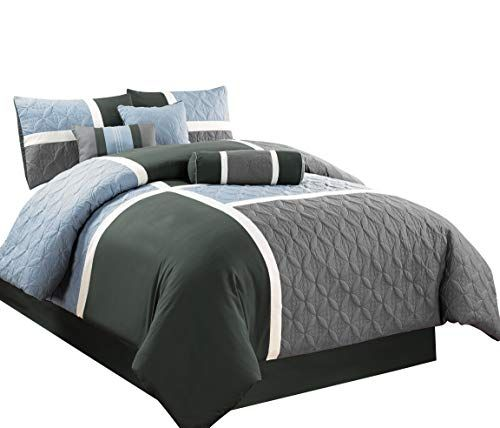 Chezmoi Collection 7 Piece Quilted Patchwork Comforter Set Queen Gray Charcoal Blue Best Quilted Comfort Comforter Sets Queen Comforter Sets Quilt Comforter