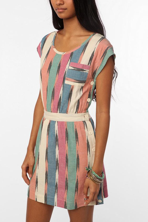 Urban Outfitters - Ecote Ikat Side-Button Dress