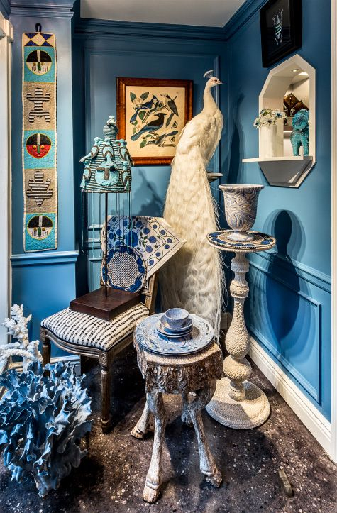 Jamie Creel S Manhattan Shop Reflects His Boundless Curiosity Taxidermy Decor Peacock Decor Peacock Living Room #peacock #themed #living #room