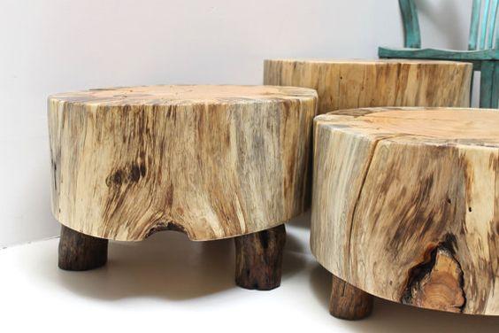 Coffee table tree slice trio w legs set of 3 salvaged for Tree slice coffee table