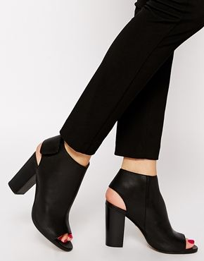 Whistles Ania Black Open Toe Heeled Ankle Boots | ASOS Boots and