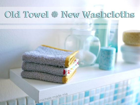 turn an old towel into wash cloths.