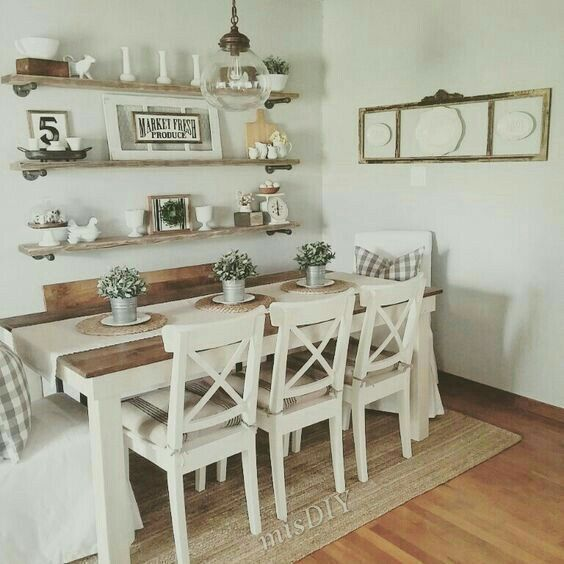 Wall Shelves Above Table Trendy Dining Room Farmhouse Dining Rooms Decor Dining Room Small