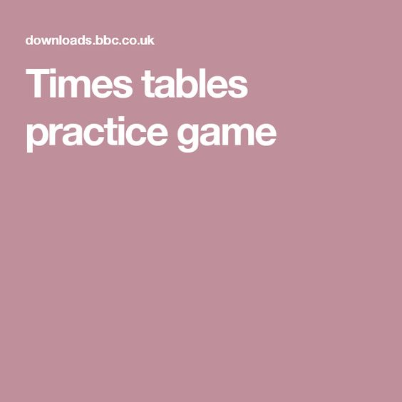 Time games, Times tables and Game tables on Pinterest