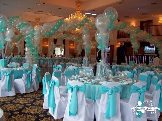 Bar mitzvah party turquoise aqua party and tables for 15th birthday party decoration ideas