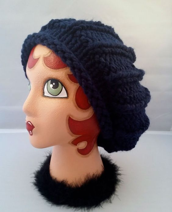 Slouchy Hat Slouch Beanie Hand Knit Winter Hat by ThatGirlKnitz, $28.00