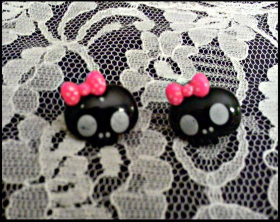 Black kawaii Skull Earings by faeriemoonmagic on Etsy, $3.00