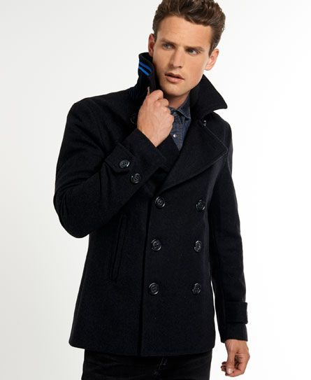 Superdry Commodity Slim Pea-Coat charcoal | Young Fashion